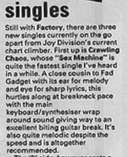 Smash Hits Review of Sex Machine by Red Starr