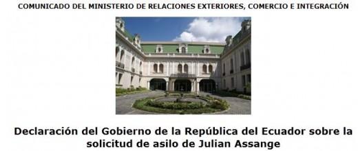 Ecuador Assange Statement