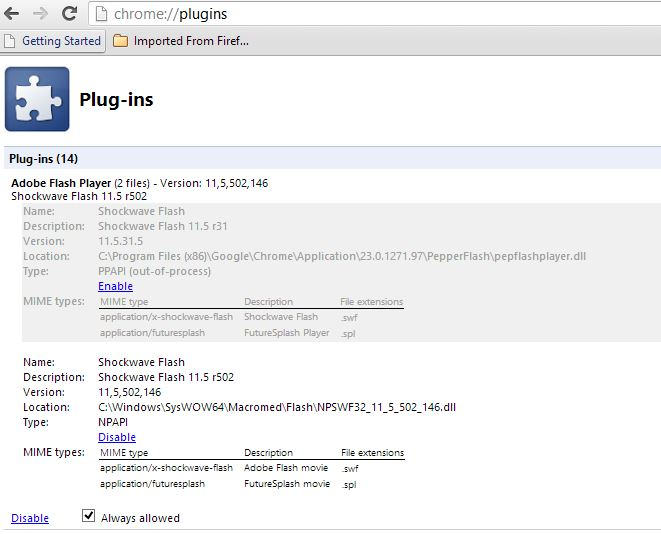 Chrome Plugins Expanded Flash Working Settings