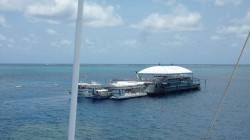Man-made Floating Island - this is on the edge of the Great Barrier Reef. The breaking surf is The Coral Sea