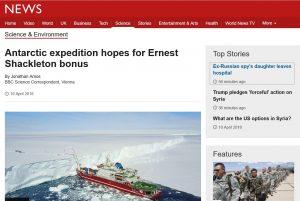 Antarctic expedition hopes for Ernest Shackleton bonus