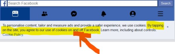 Facebook forces user acceptance to allow it to read ALL cookies