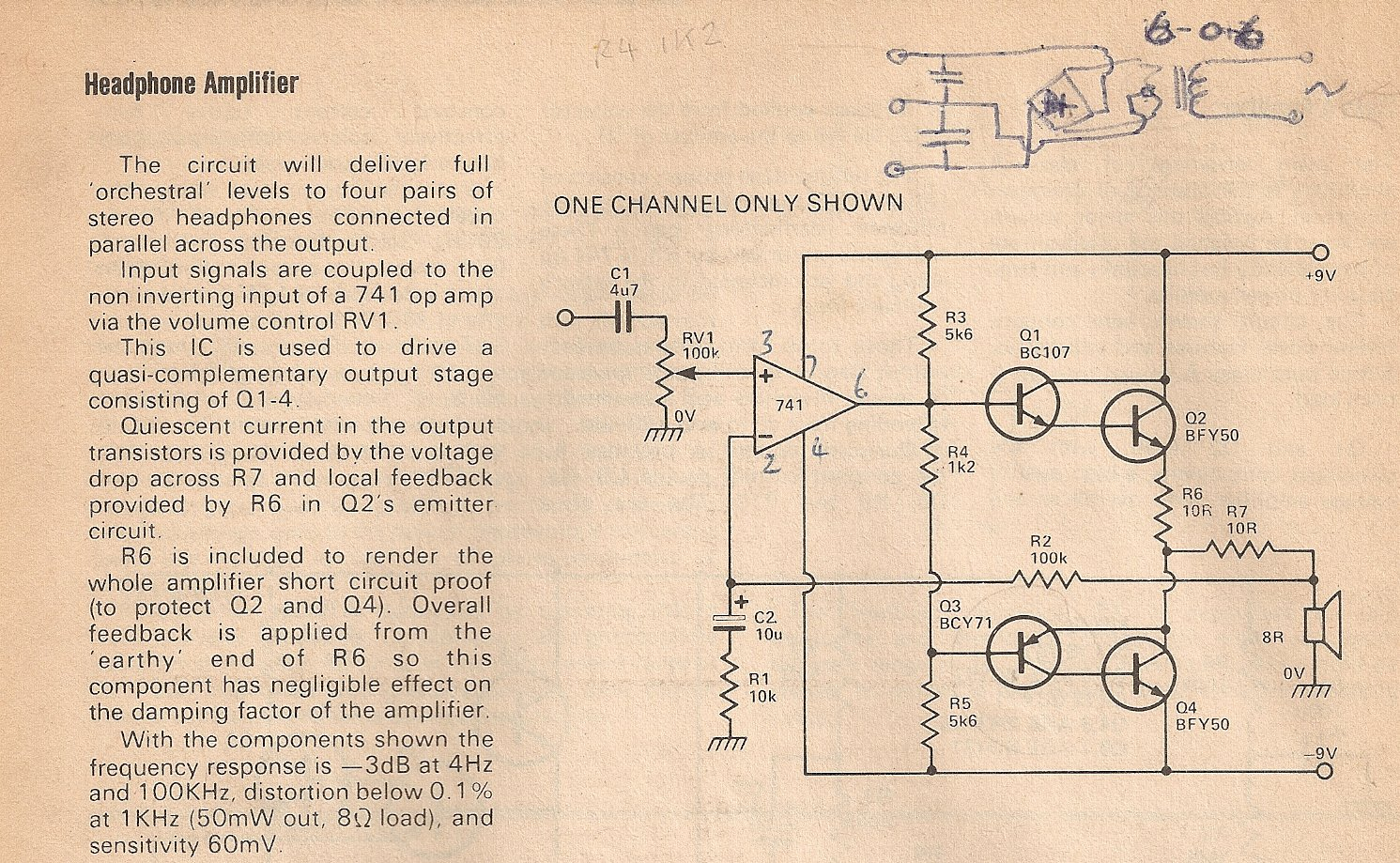Headphone Amp Circuit Strangely Perfect Amplifier And Explanation Electronic Circuits
