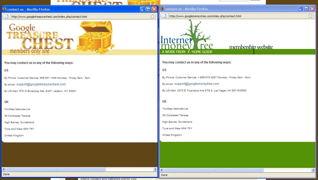 Screenshots of the two sites' contact forms