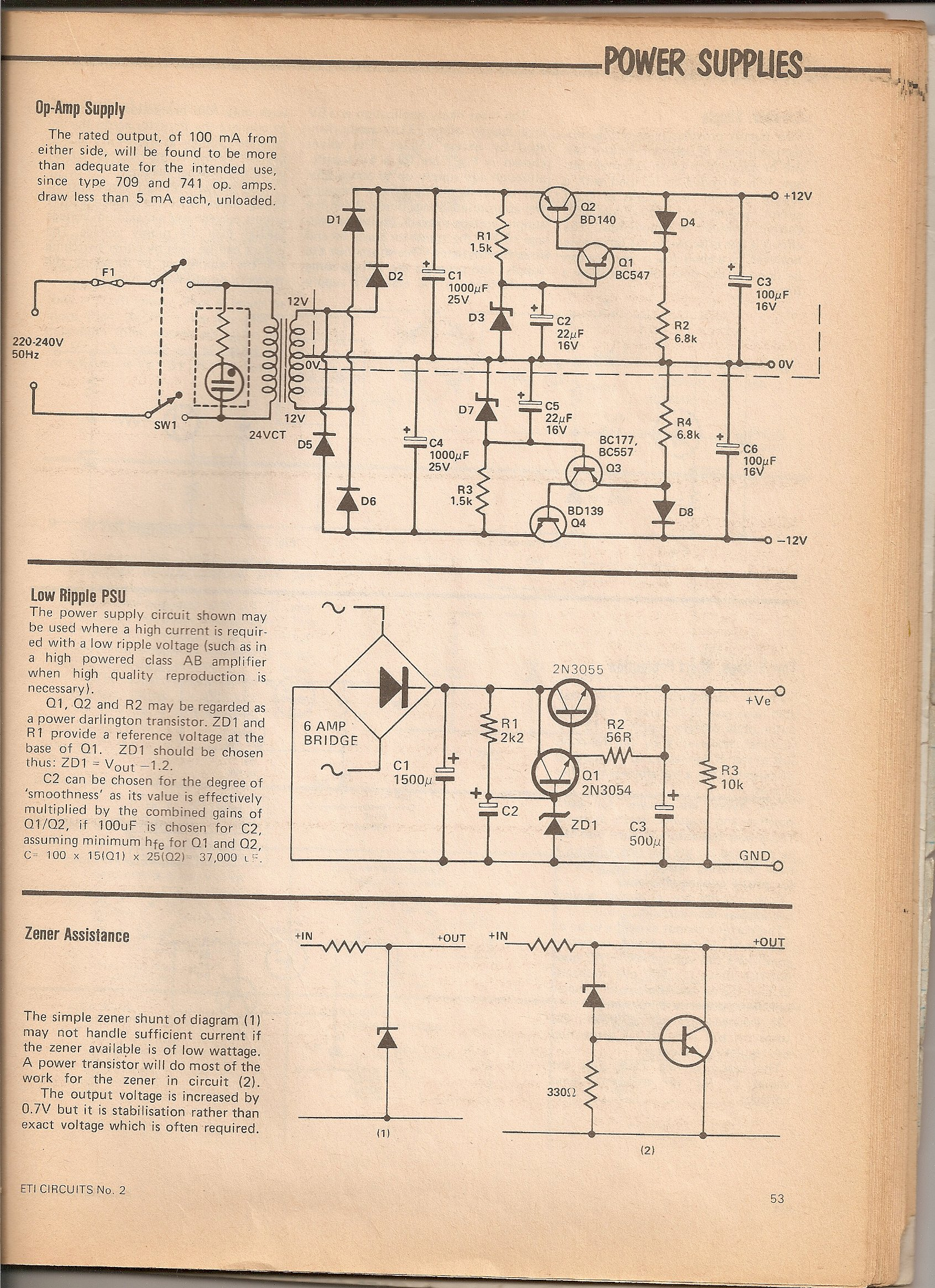 Page from ETI Magazine: ETI Circuits No.2