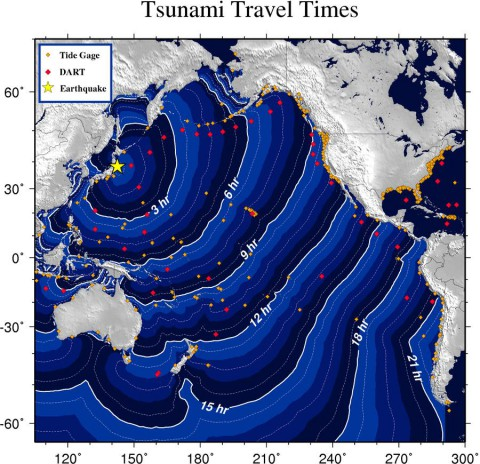 Tsunami Transit Time for Japanese Tsunami of 11/3/11